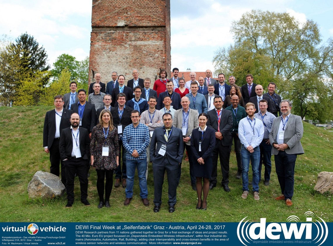 "DEWI Final Week at ""Seifenfabrik"" Graz - Austria, April 24-28, 2017  -  DEWI Research partners from 11 nations gathered together in Graz for a final exchange of ideas and project results. The 40 Mio. Euro EU project focussed on ""Dependable Embedded Wireless Infrastructure"", within four industrial domains (Aeronautics, Automotive, Rail, Building), adding clear interoperability and cross-domain benefits in the area of wireless sensor networks and wireless communication.  More information: www.dewiproject.eu"
